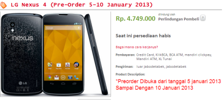 LG Nexus 4 Sold Out Erafone.Multiply