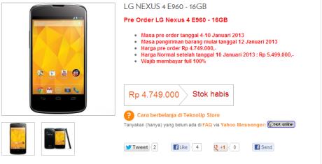 LG Nexus 4 Sold Out TeknoUp