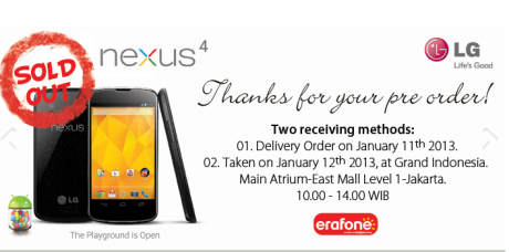 LG Nexus 4 Sold Out Erafone