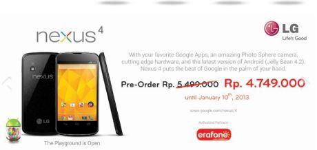 LG Nexus 4 Pre Order